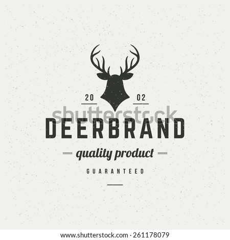 Deer head Design Element in Vintage Style for Logotype, Label, Badge, T-shirts and other design. Hunting club Retro vector illustration. - stock vector