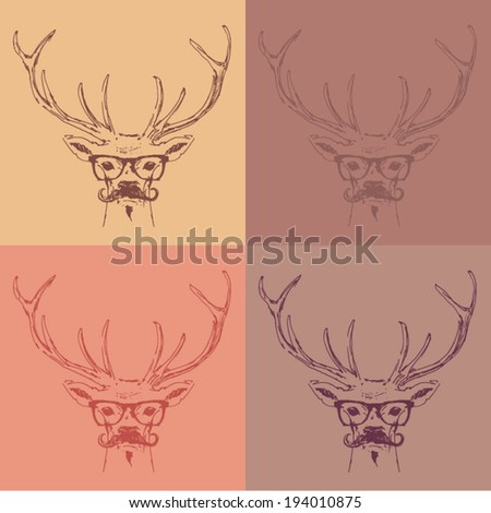 deer head, hipster style with glasses and mustache, engraving vintage illustration, hand drawn - stock vector