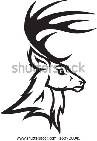 Deer Head Illustrated Deer Bust Profile. Black and White. Vector file. - stock vector