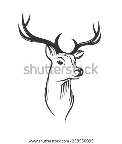 Deer head on white background - stock vector
