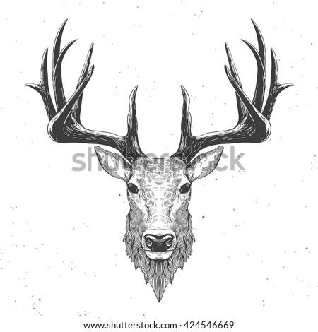 Reindeer head drawing - photo#27