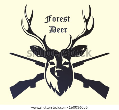 Deer head with guns isolated on background - stock vector