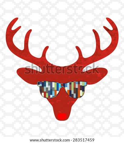 deer hipster with funky sunglasses  - stock vector