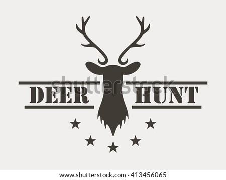 Deer hunt. Hunting club logo in vintage style. Vector logo - stock vector