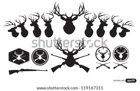Deer Hunter Heads set - stock vector