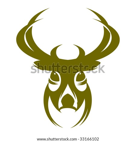Deer illustration monochrome vector - stock vector