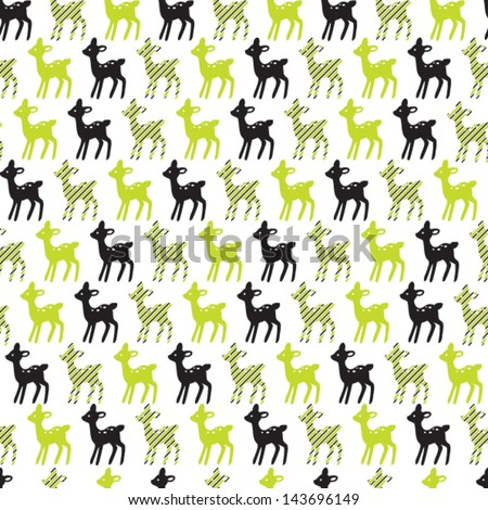 Deer illustration seamless vector pattern