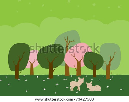 Deer in a Forest - stock vector