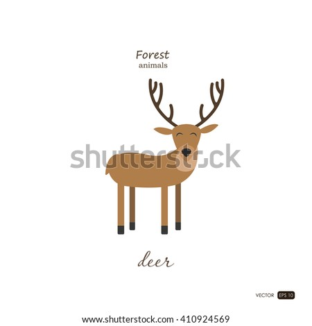 Deer in cartoon style on white background. Forest animal. Vector illustration - stock vector