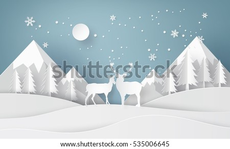 Deer in forest with snow and mountain.vector paper art style.