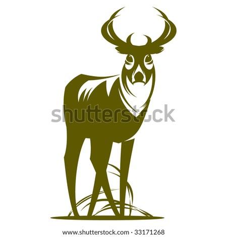 Deer in the field. Monochrome - stock vector