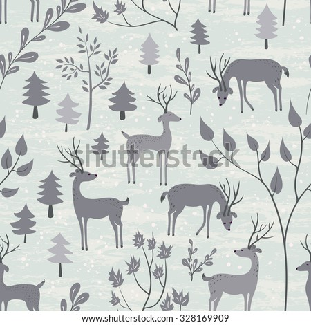 Deer in winter forest. Seamless pattern with hand drawn design for Christmas, New Year greeting cards, fabric, wrapping paper, invitation, stationery. Grunge seamless texture is in the separate layer. - stock vector