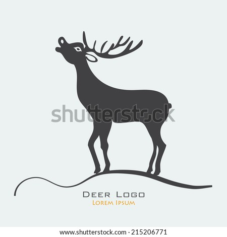 Deer label logo vector illustration clipart silhouette. Hunting products billboards website - stock vector