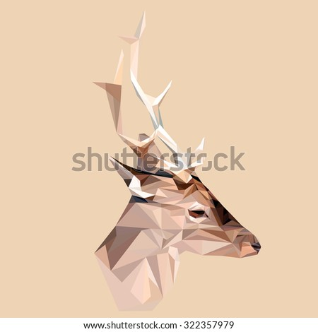 Deer low poly design. Triangle vector illustration. - stock vector