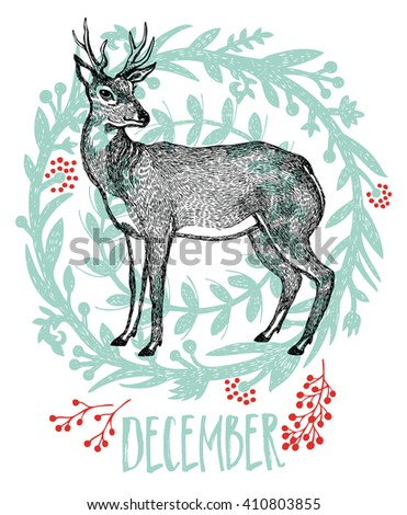 Deer Magical winter forest Sketch style - stock vector