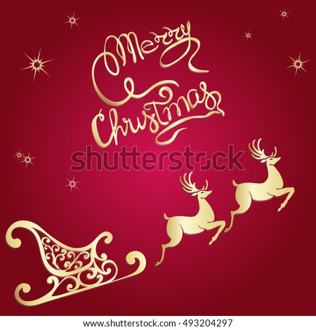 Deer Merry Christmas Poster Template Vector Stock Vector 493204297 ...