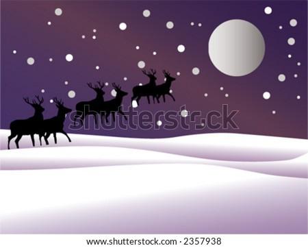 deer, night, new year, year - stock vector