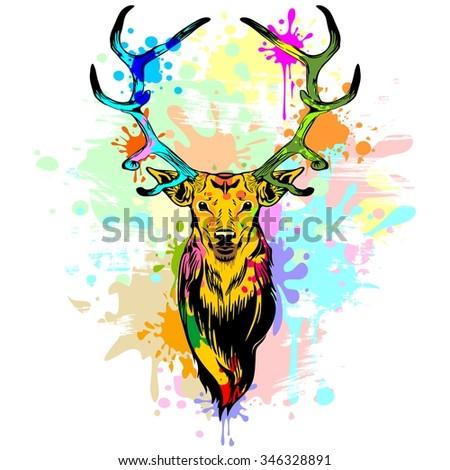 Deer PopArt Dripping Paint - stock vector