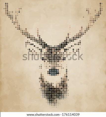 Deer portrait made of geometrical shapes - Vintage Design - stock vector