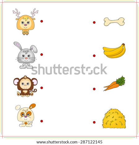Deer, rabbit, monkey and dog with their food (bone, banana, carrot and hay). Game for children: make the right choice and connect the dots - stock vector