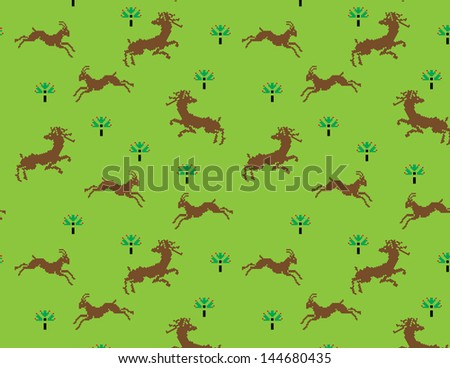 Deer running,seamless pattern.You can change the background color. - stock vector