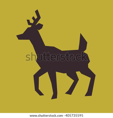 deer silhouette in minimalist and flat style