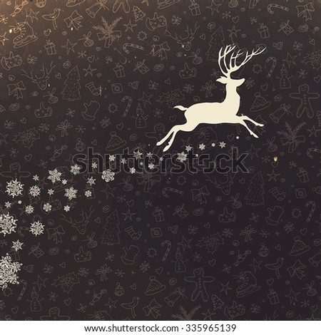 Deer silhouette on hand drawn Christmas background. Retro Merry Christmas Card Design - stock vector