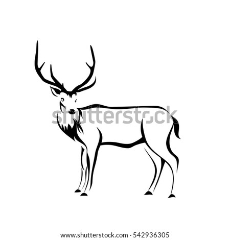 Deer silhouette on white background. Vector logo Illustration