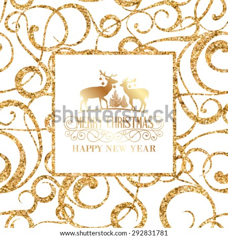 Deer silhouette over golden christmas frame. Vector illustration. - stock vector