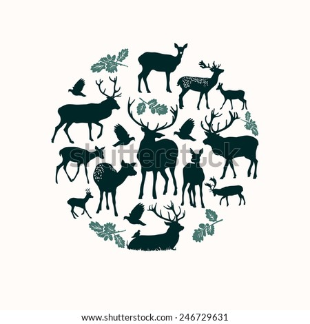Deer silhouette round composition. - stock vector