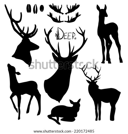 Deer silhouettes set. Hand drawn isolated vintage illustration - stock vector