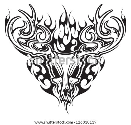 Deer Hunting Decals in addition Deer Skull Pics besides Deer Head Tribal Pattern Polynesian Tattoo 309473732 additionally 270919381367 likewise . on bone collector stencil