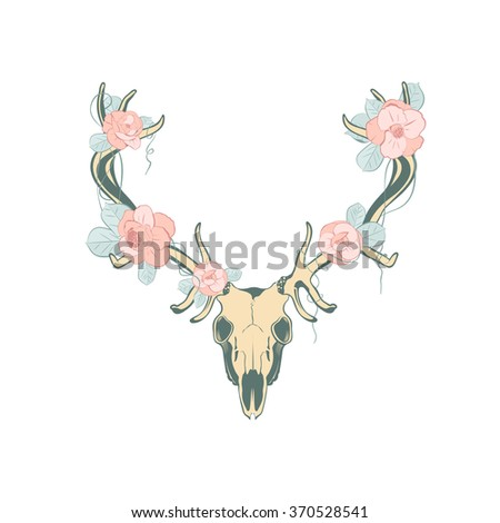 Deer skull with flowers.  Illustration suitable for design element, logo or tattoo - stock vector