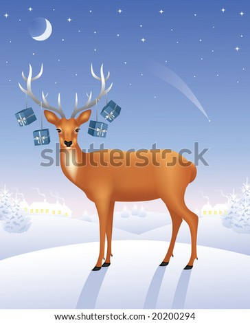 Deer standing on a hill. Presents hanging on the antlers. - stock vector