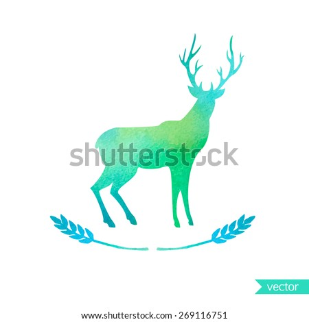 Deer watercolor silhouette. Colorful vector illustration - stock vector