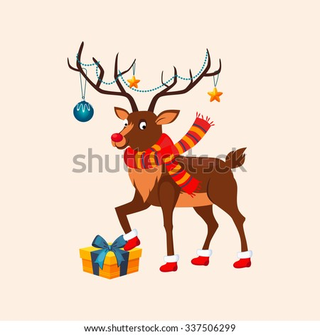 Deer with a Christmas Garland on the Horns wearing red Boots stepping on a Present Box. Vector Illustration