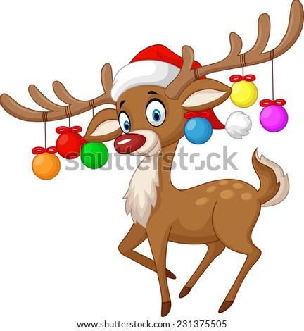 Deer with Christmas ball - stock vector