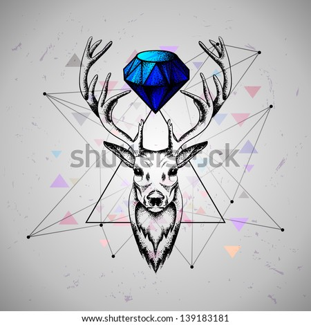 deer with diamond - stock vector