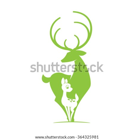 Deer with fawn silhouette logo. Vector object. Flat vintage design template elements for your application or corporate identity. - stock vector