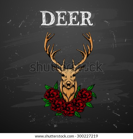 Deer with flowers  in tattoo style - stock vector