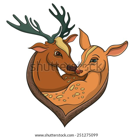 Deers falling in love. Illustration with simple gradients. - stock vector