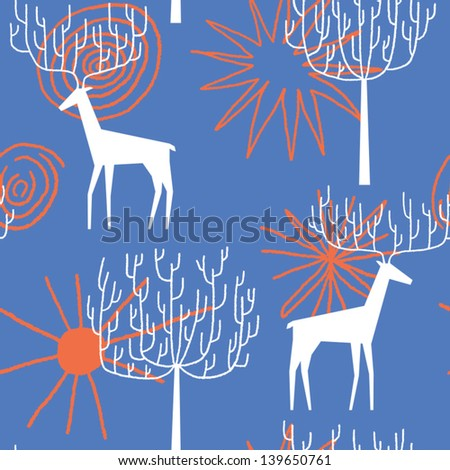 Deers in the forest vector seamless pattern - stock vector