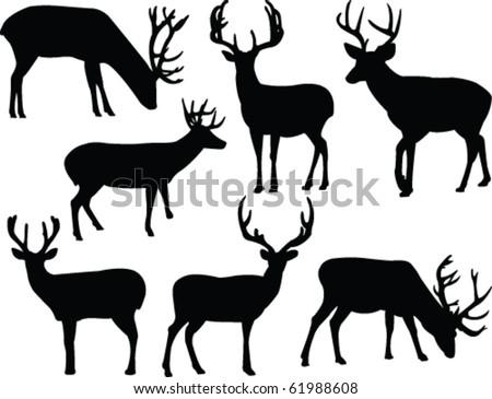 deers silhouette collection - vector - stock vector
