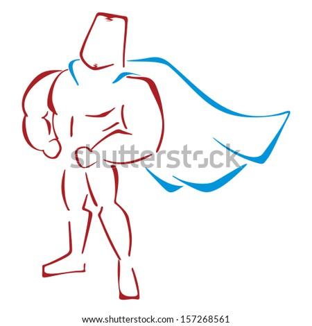 Defender in costume - stock vector
