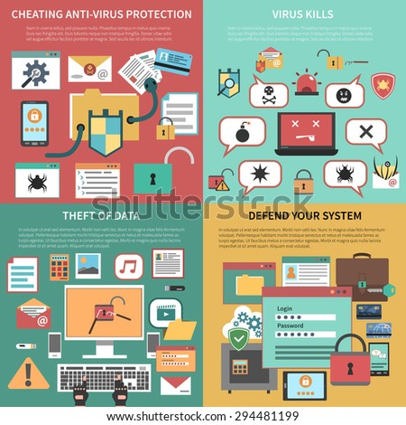 Defending against attacking antivirus software and data theft 4 flat icons square composition banner abstract vector illustration. Editable EPS and Render in JPG format - stock vector