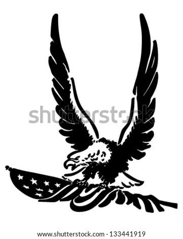 Defiant American Eagle - Retro Clip Art Illustration - stock vector