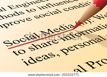 Definition of the term social media illustrated as it is in the dictionary - stock vector