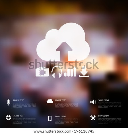 Defocused  abstract texture background with web icons - stock vector