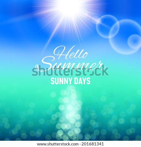 Defocused background with sun and sea for your summer design - stock vector