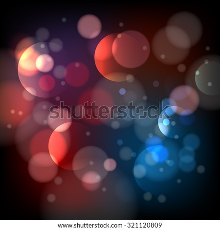 Defocused bokeh lights background. Bright blur abstract effect, shiny pattern round, vector illustration - stock vector
